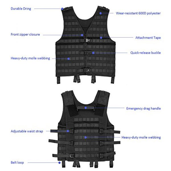 Lixada Airsoft Tactical Vest 4 Lixada Tactical Vest Military Airsoft Vest Adjustable Breathable Combat Training Vest for Outdoor Hunting, Fishing, Army Fans, CS War Game, Survival Game, Combat Training