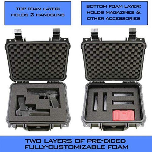 "CASEMATIX Pistol Case 3 CASEMATIX 13"" Two Gun Hard Case for 2 Handguns - Waterproof & Shockproof 2 Pistol Hard Case, Double Handgun Case with Accessory Storage for Multiple Magazines, Ammo Box and Other Accessories"