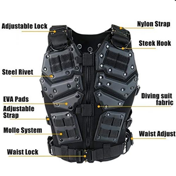 Shefure Airsoft Tactical Vest 5 Shefure Airsoft Tactical Vest Black Swat Body Armor Hunting CS Wargame Paintball Vest Waistcoat with 5.56 Magazine Pouches