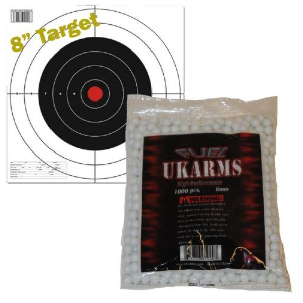 UKARMS Airsoft BB 1 UKARMS White 1,000 Airsoft BBS Pellets 6mm .12g BB for Pistol Gun Rifle Ammo + Target
