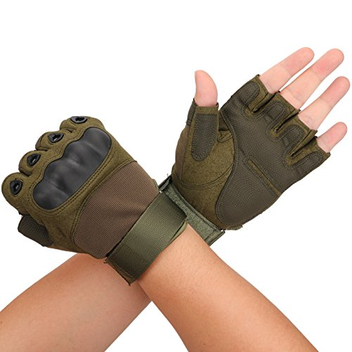 Huade Airsoft Glove 1 Tactical Military Rubber Hard Knuckle Outdoor Fingerless Gloves for Camping Cycling Motorcycle Hiking Powersports Airsoft Paintball