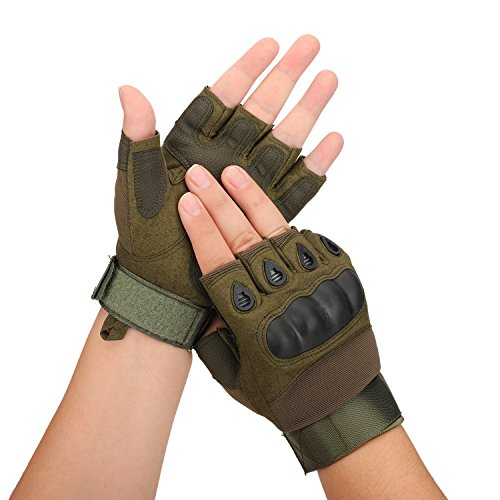 Huade Airsoft Glove 3 Tactical Military Rubber Hard Knuckle Outdoor Fingerless Gloves for Camping Cycling Motorcycle Hiking Powersports Airsoft Paintball