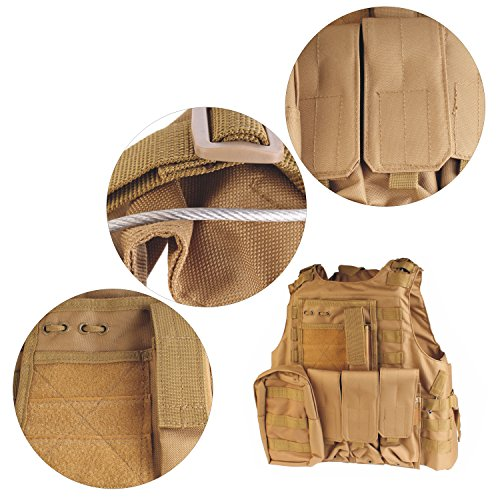 PMLAND  3 PMLAND Tactical Molle Airsoft Vest Paintball Combat Soft Vest Tan