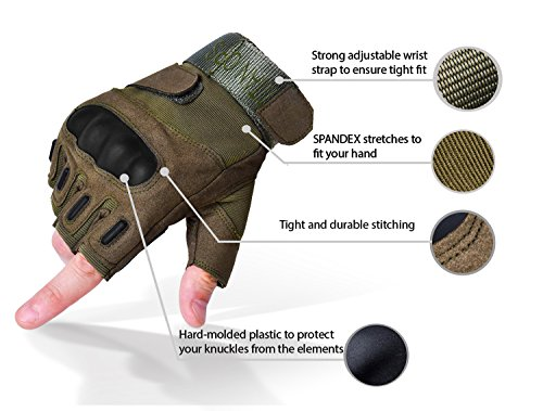 TitanOps Gear Airsoft Glove 2 TitanOPS Fingerless Hard Knuckle Motorcycle Military Tactical Combat Training Army Shooting Outdoor Gloves