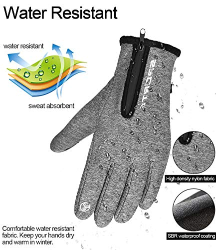 Upgrade Mens Gloves Touch Screen Gloves with Zipper Windproof Cycling Running Gloves Water Resistant Non-Slip Design for Driving Climbing Hiking and More