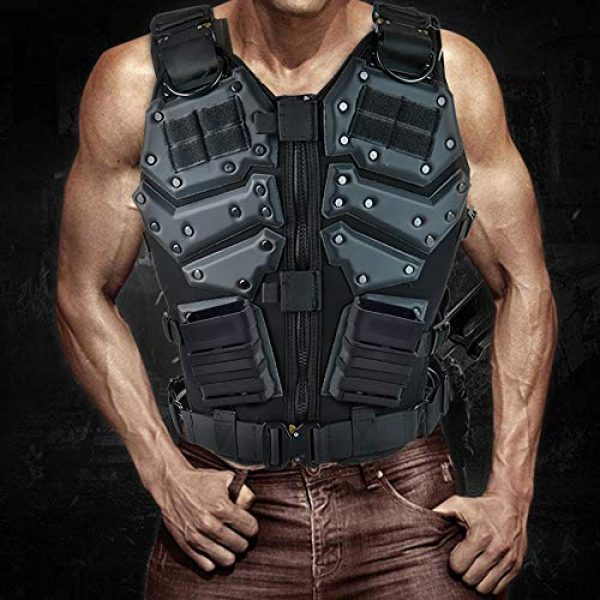 iactionunion Airsoft Tactical Vest 7 Upgrade Tactical Vest for Men with 2pcs 5.56 Fast Mag Pouch Adjustable Airsoft Paintball Vest Combat Vest Tactical Molle Vest CS Shooting Wargame Outdoor Training