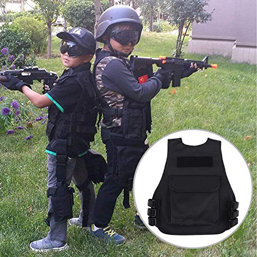 Vbestlife Airsoft Tactical Vest 7 Children Tactical Vest Black Children Kids Security Guard Waistcoat Cs Field Combat Training Military Army Tactical Vest Oxford Boys Costumes Games Protective Jacket Vest