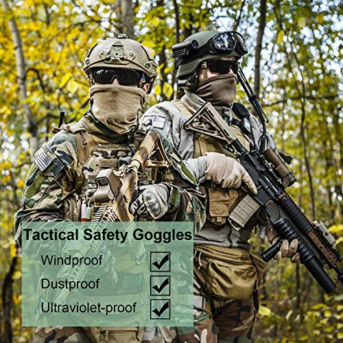 Flantor Airsoft Goggle 3 Flantor Airsoft Goggles -Outdoor Tactical Goggles Safety Anti Fog Goggles Military Goggle Glasses with 3 Interchangable Lenses & UV400 Protection for Paintball Hunting shotting Cycling