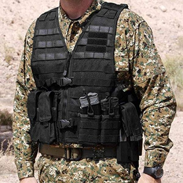 Chief Tac Airsoft Tactical Vest 4 Chief Tac Military Tactical Molle Vest Mesh Light Army Airsoft Paintball Utility Vest, Breathable Lightweight Hunting Fishing Vest for Men
