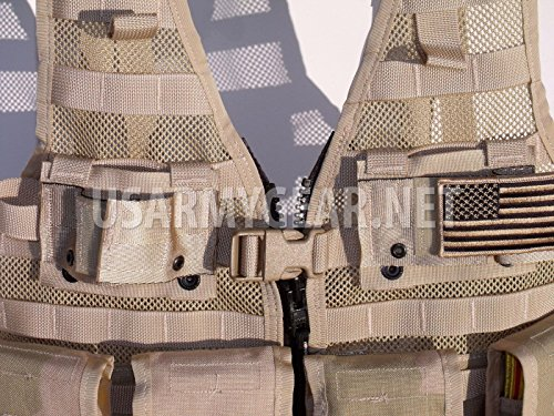 Specialty Defense Systems / Michael Bianco Airsoft Tactical Vest 2 New Made in USA Army Military MOLLE II Camouflage Desert Tan Airsoft MOLLE II Fighting Loaded Carrier Vest FLC LBV with 4 Double Pouch and 2 K-Bar Adapter Issued by the U.S. Government GI