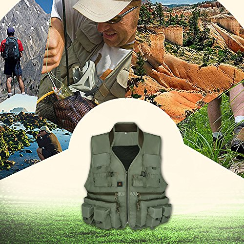 Anglerbasics  7 Anglerbasics Army Green Multifunction Airsoft Tactical Vest Quick Dry Multi Pockets Mesh Breathable Active Military wear Jacket- Fits for All Outdoor Sports