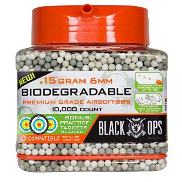 Black Ops Airsoft BB 1 Black Ops .15 g Biodegradable Airsoft BBs - 10,000 Triple Polished Competition Grade 6mm BBs - Resealable - For All Airsoft Guns Pistols Rifles AEGs
