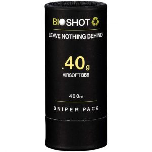 BioShot 0.40g Biodegradable Airsoft BBs Super Slick Sniper Weight Sniper Pack Tube