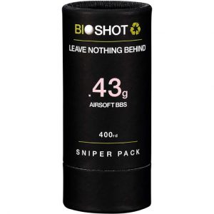 BioShot 0.43g Biodegradable Airsoft BBs Super Slick Sniper Weight Sniper Pack Tube