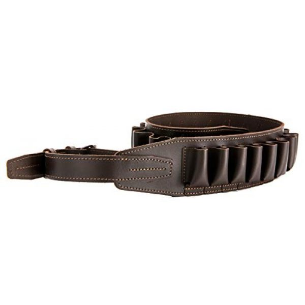 CKG  4 Genuine Leather Shotgun Cartridge Belt 12/16 Gauge - Tactical Shooting Gun Bullet Waist Belt - Ammo Holder Combat Hunting - 24 Shell Holder-Brown Color