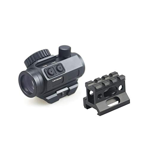 Pinty Airsoft Gun Sight 2 Pinty 3 MOA Red Green Dot Sight Brightness Button Control with 1 inch High Mount Compact Red Dot Scope 1 Riser Mount for Cowitness with Iron Sights Waterproof and Shockproof