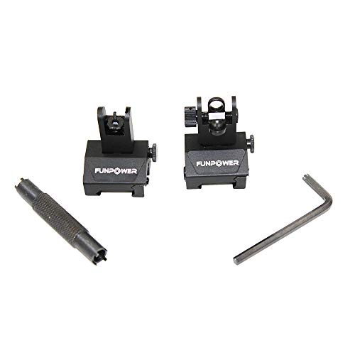 Funpower Airsoft Gun Sight 3 Funpower Tactical Front and Rear Flip Up Iron Sight for Rifle
