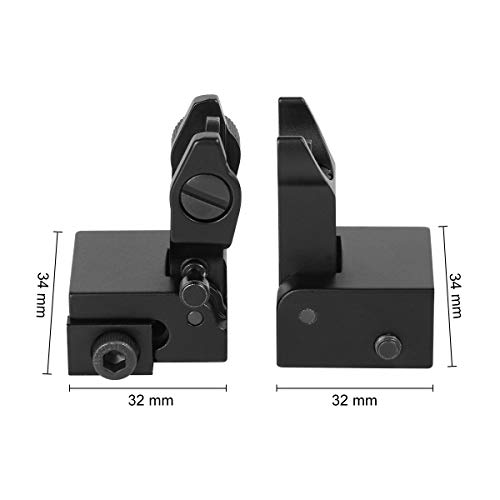Gogoku Airsoft Gun Sight 4 Gogoku Flip Up Iron Sight Front Rear Sight Compatible for Picatinny Rail and Weaver Rail Foldable Sights