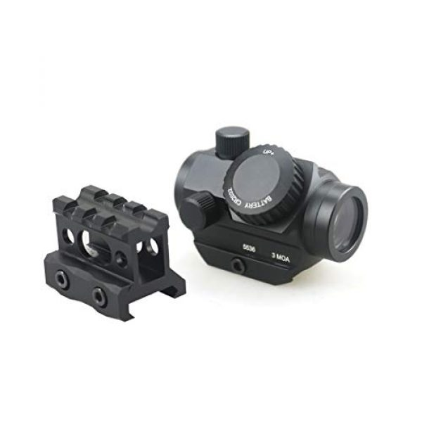 Pinty Airsoft Gun Sight 1 Pinty 3 MOA Red Green Dot Sight Brightness Button Control with 1 inch High Mount Compact Red Dot Scope 1 Riser Mount for Cowitness with Iron Sights Waterproof and Shockproof