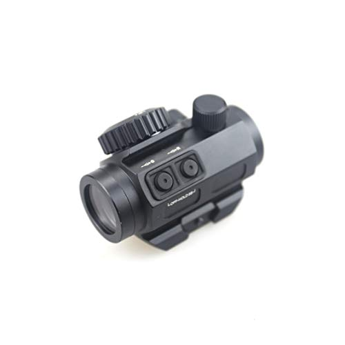 Pinty Airsoft Gun Sight 3 Pinty 3 MOA Red Green Dot Sight Brightness Button Control with 1 inch High Mount Compact Red Dot Scope 1 Riser Mount for Cowitness with Iron Sights Waterproof and Shockproof