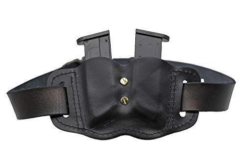 MAYMOC  5 MAYMOC Tactical Leather Magazine Holder Sizes to fit virtually Any 9mm .40 .45 or .380 Pistol Mag Single or Double Stack IWB or OWB