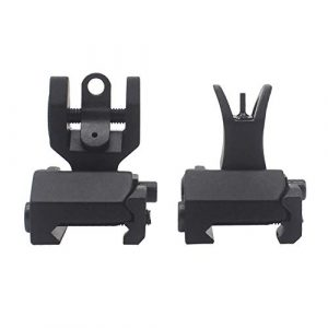 AWOTAC Airsoft Gun Sight 1 AWOTAC Tactical Rapid Transition Front and Rear Flip Up Backup HK Iron Sights Fit Picatinny Weaver Rails