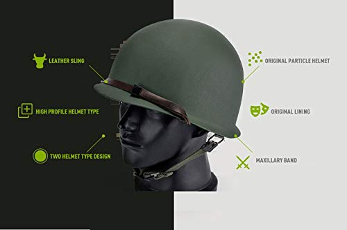 BYHai Airsoft Helmet 4 BYHai WWII US Army M1 Green Helmet Replica Adjustable with Net/Canvas Chin Strap Tactical Paintball Gear for Adults