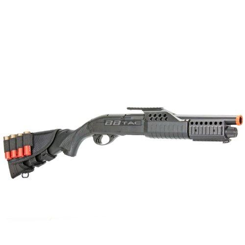 BBTac  3 BBTac BT-BT180D1 Pump Action RIS Airsoft Shotgun with 4 Bullet Shells and Stock Shell Holder