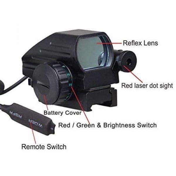 Sniper Airsoft Gun Sight 4 Sniper RD22LR Holographic Reflex Sight with 4 Reticles Red and Green Dot with Red Laser
