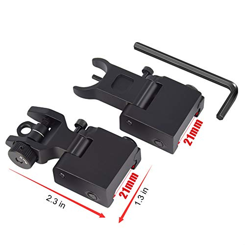 Feyachi Airsoft Gun Sight 6 Feyachi Flip Up Rear Front and Iron Sights Best Backup fits Picatinny & Weaver Rails Black