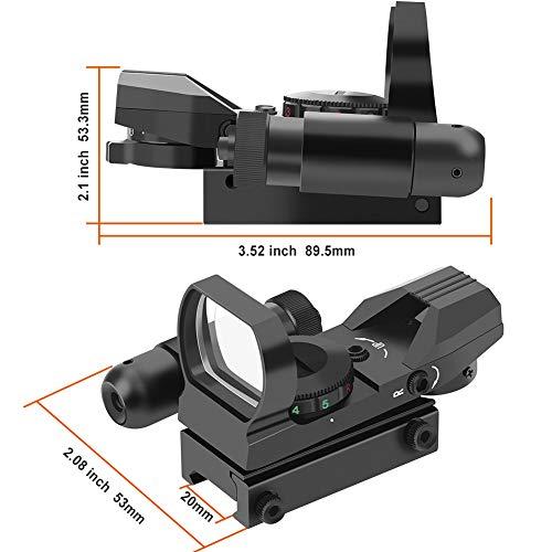 Feyachi Airsoft Gun Sight 4 Feyachi RSL-18 Reflex Sight - 4 Reticle Red & Green Dot Sight Optics with Integrated Red La-ser Sight Less Than 5mW Output