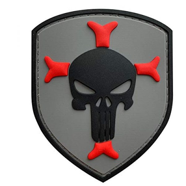 uuKen Airsoft Patch 1 Knights Templar Cross Crusaders Shield with Punisher Military Tactical Morale Patch for Military Tactical Airsoft Gear (Grey)