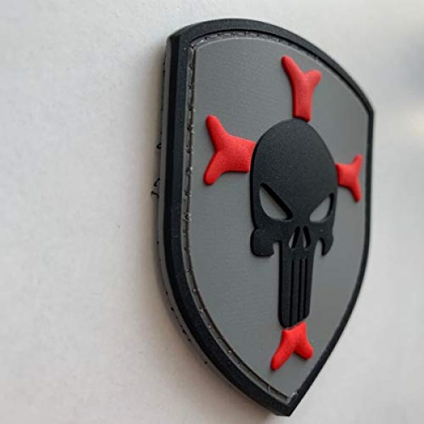 uuKen Airsoft Patch 3 Knights Templar Cross Crusaders Shield with Punisher Military Tactical Morale Patch for Military Tactical Airsoft Gear (Grey)