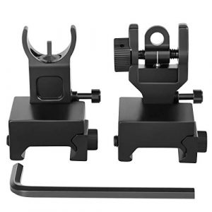 Gogoku Airsoft Gun Sight 1 Gogoku Flip Up Iron Sight Front Rear Sight Compatible for Picatinny Rail and Weaver Rail Foldable Sights