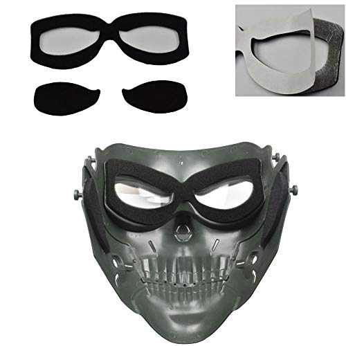 JFFCESTORE Airsoft Mask 5 JFFCESTORE Tactical Mask Anti-Fog Airsoft Paintball mask Protective Full Face Clear Lens Skull mask Dual Mode Wearing Design Adjustable Strap One Size fit Most