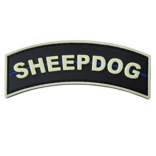 LEGEEON Airsoft Patch 2 LEGEEON Glow Dark Sheepdog Tab Thin Blue Line Law Enforcement PVC Rubber Hook&Loop Patch