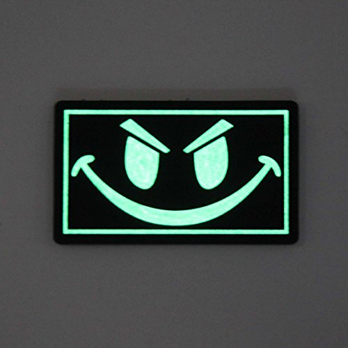 NEO Tactical Gear Airsoft Patch 3 The Original Glow in The Dark Smiley Face PVC Rubber Morale Patch - Crossfit Patch by NEO Tactical Gear Morale Patch
