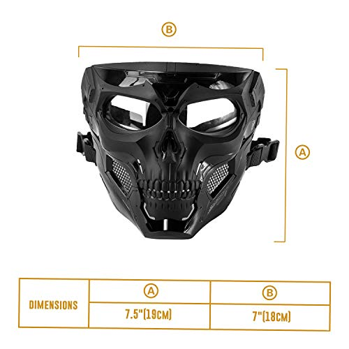 Black Orca Airsoft Mask 4 Black Orca Skull Full-Face Mask for Airsoft Helmet