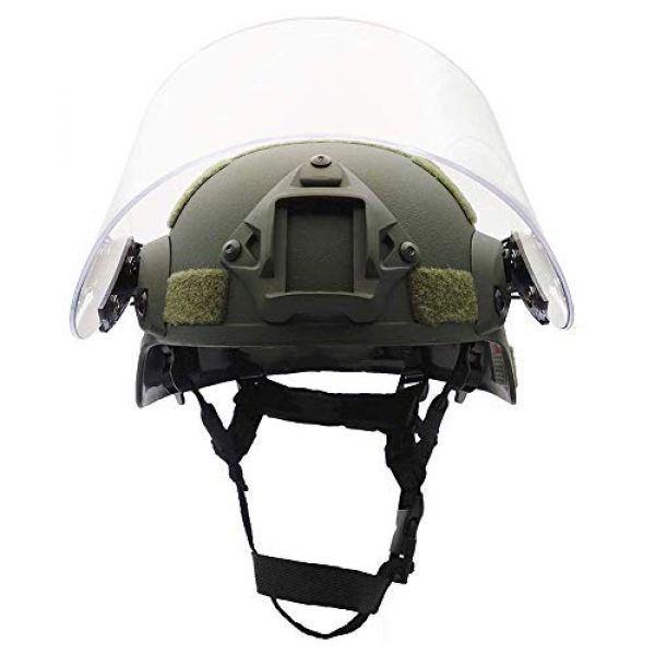 Will Outdoor Airsoft Helmet 3 Lightweight Quick-Protection Helmet Mich 2000 with Anti-Riot Sunshade Sliding Goggles and Side Rail NVG Bracket.