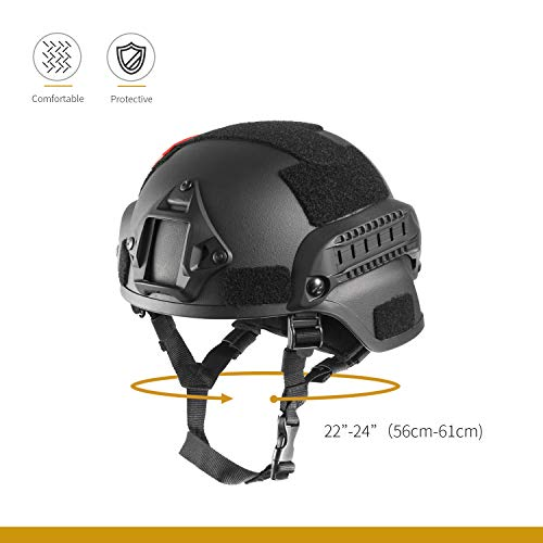 OneTigris Airsoft Helmet 3 OneTigris MICH 2000 Style ACH Tactical Helmet with NVG Mount and Side Rail