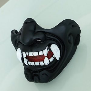 tripple_777 Airsoft Mask 1 tripple_777 Custom Halloween Costume Cosplay BB Gun Kabuki Samurai Evil Demon Oni Airsoft Mask Black MA233