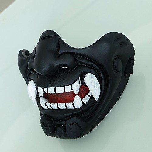 tripple_777 Airsoft Mask 1 tripple_777 Custom Halloween Costume Cosplay BB Gun Kabuki Samurai Evil Demon Oni Airsoft Mask Black MA233