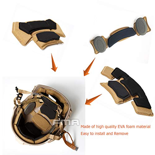 Supspy Airsoft Helmet 2 Tactical Airsoft Helmet Pads FMA Internal Foam Protective Cushion Accessories Liner System for Fast MT MICH IBH AF ACH Outdoor Paintball Helmet