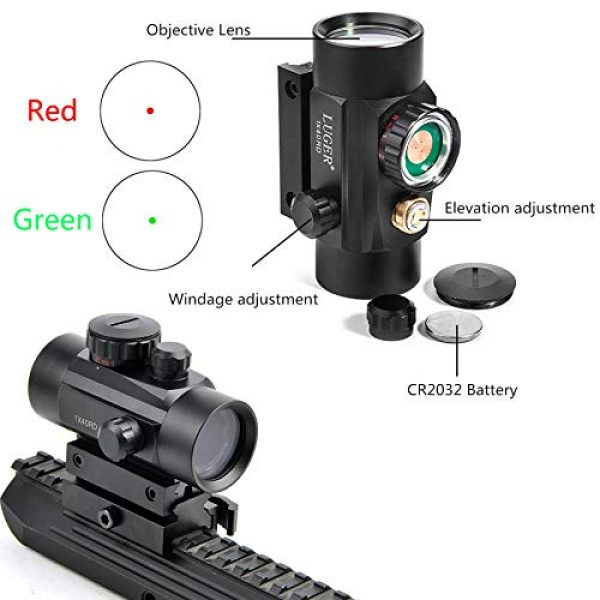 Luger Airsoft Gun Sight 6 Luger Tactical 1x40mm Red Green Dot Sight + 3X Magnifier Scope with Quick Detach Flip to Side + QD 5 Slots Rail Riser Combo Kit