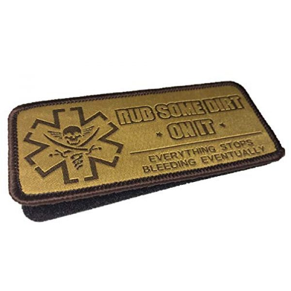 F-Bomb Morale Gear Airsoft Patch 2 Rub Some Dirt On It - Version 2, Medic, EMS, EMT, Paramedic - Embroidered Morale Patch (Tan)