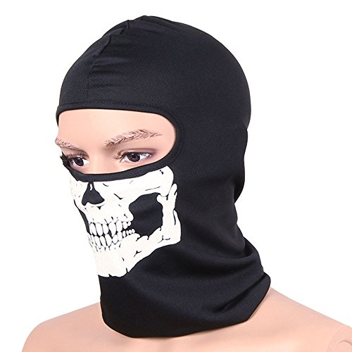 Zzoo Airsoft Mask 2 ZZoo Cotton Ghost Mask Skull Heads Warm Scarf Outdoor Cycling Dust Mask Halloween Cosplay Costume (Black)