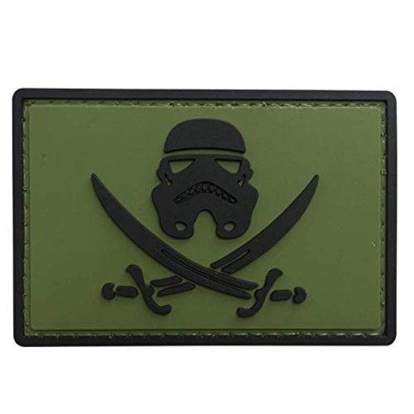 uuKen Airsoft Patch 1 Movie Comics Stormtrooper Patch Star Wars Pirate Swords Rubber Tactical Morale Patch Hook Backed (OD Green)