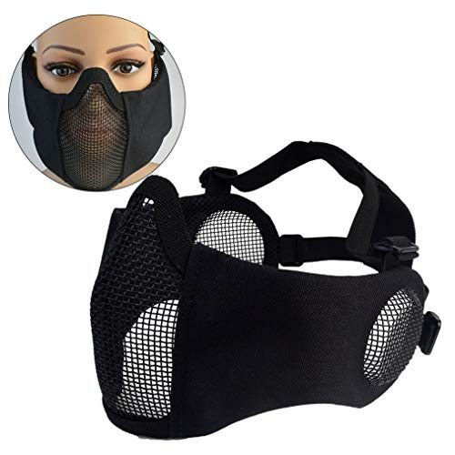 Topbuti Airsoft Mask 4 Topbuti Airsoft Mask Black Foldable Tactical Airsoft Mesh Mask with Ear Protection Half Face Lower Mask for Youth Adults Men Women