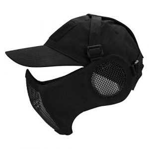 Aoutacc Airsoft Mask 1 Foldable Half Face Mesh Mask and Cap Set