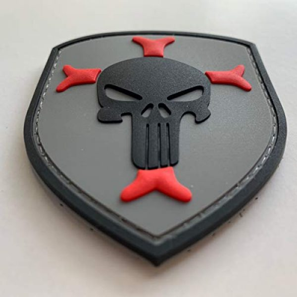 uuKen Airsoft Patch 2 Knights Templar Cross Crusaders Shield with Punisher Military Tactical Morale Patch for Military Tactical Airsoft Gear (Grey)